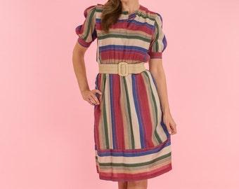Vintage Jewel Toned Striped Fold Dress (Size Medium)