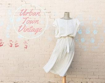 Vintage 1980s Vanilla Speckled Dress (Size Medium/Large)