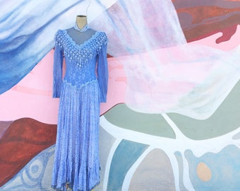 Vintage Periwinkle Blue Lace Beaded Gown (Size Medium)