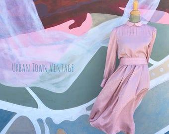 Vintage Rose Pink Peter Pan Collared Tone On Tone Dress (Size Medium)