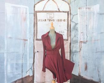 Vintage Deep Burgundy Smocked Belted Dress (Size Medium)