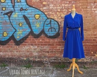 Vintage Cobalt Blue Belted Dress (Size Medium)