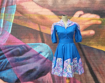 Vintage 1960s Blue Lace Overlayed Full Circle Dress (Size Small/Medium)