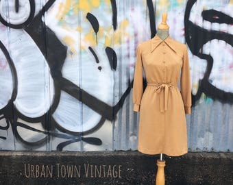 Vintage 1970s Caramel Tan Dress (Size Small)