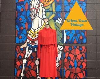 Vintage Bold Red Belted Dress (Size Large)