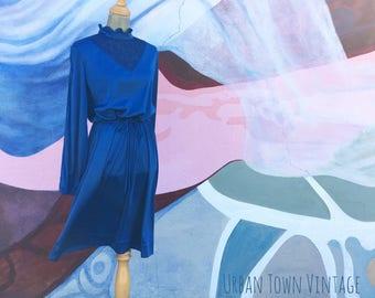 Vintage Cobalt Blue See Through Lace Yoke Dress (Size Medium/Large)