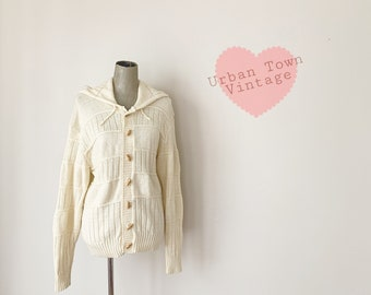 1970s Ivory Hooded Toggle Button Down Cardigan Sweater (Size M/L)