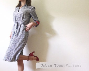 1990s Blue and White Speckled Shift Dress (Size 7 8 9 Women)