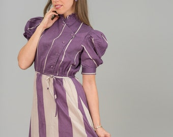 Vintage Grape Striped Dress (Size Small)