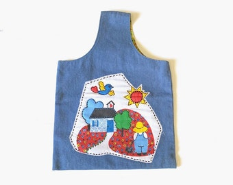 1970s Denim Retro Farmland Top Handle Bag