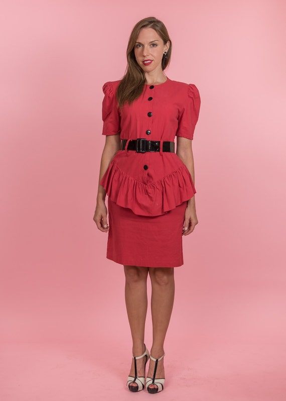 Vintage Raspberry Red Peplum Dress (Size Medium)