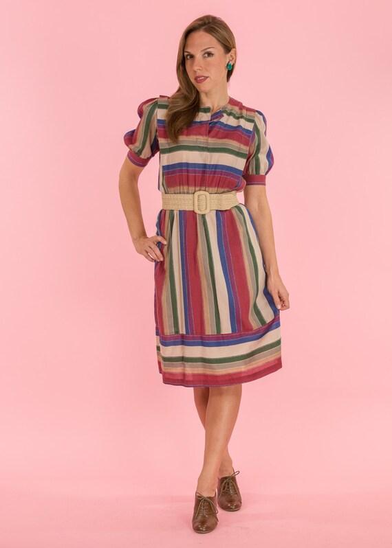 2fc75c970c65 Vintage Jewel Toned Striped Fold Dress Size Medium | Etsy