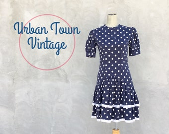 Vintage 1990s Navy Blue Polka Dot Tiered Ruffled Dress Mini (Size Small/Size 4 to 6)