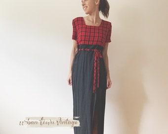 1990s Red And Black Buffalo Plaid Hour Glass Dress (Size 7/8 Women)
