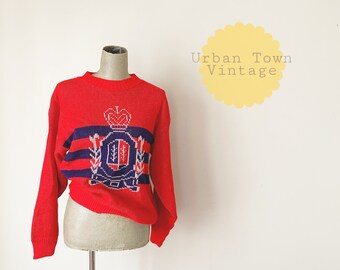 1980s Red Shield Of Armor Sweater (Size M)
