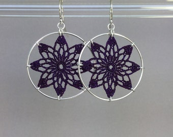 Tavita doily earrings, purple hand-dyed silk thread, sterling silver
