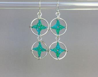 Spangles, shamrock green silk earrings, sterling silver
