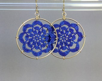 Serendipity doily earrings, blue hand-dyed silk thread, 14K gold-filled