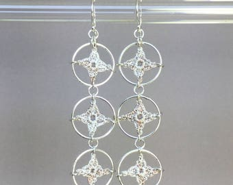 Spangles, pearly silk earrings, sterling silver