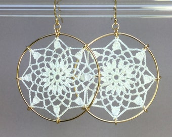 Mandala doily earrings, white silk thread, 14K gold-filled