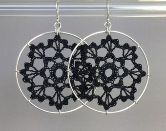 Scallops doily earrings, black silk thread, sterling silver
