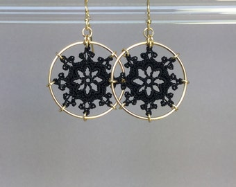 Nautical doily earrings, black silk thread, 14K gold-filled