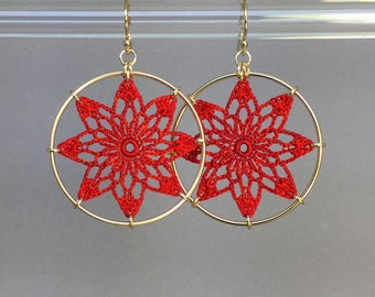 Tavita doily earrings, red hand-dyed silk thread, 14K gold-filled