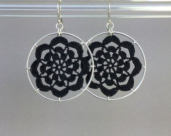 Serendipity doily earrings, black silk thread, sterling silver