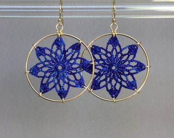 Tavita doily earrings, blue hand-dyed silk thread, 14K gold-filled