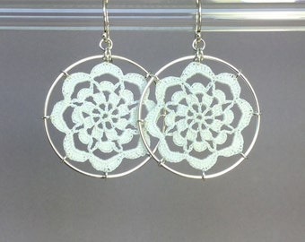 Serendipity doily earrings, white silk thread, sterling silver