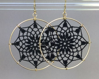 Mandala doily earrings, black silk thread, 14K gold-filled