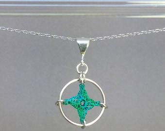 Spangles, shamrock green silk necklace, sterling silver