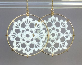 Scallops doily earrings, white silk thread, 14K gold-filled