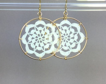 Serendipity doily earrings, white silk thread, 14K gold-filled