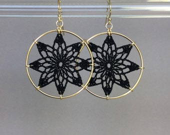 Tavita doily earrings, black silk thread, 14K gold-filled