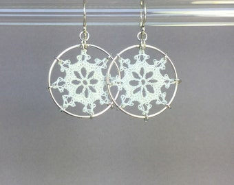 Nautical doily earrings, white silk thread, sterling silver