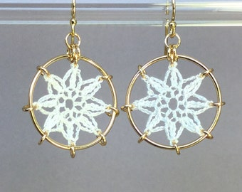 Compass Rose doily earrings, white 14K gold-filled