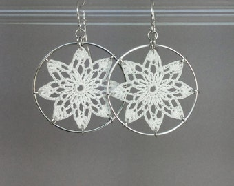 Tavita doily earrings, white silk thread, sterling silver