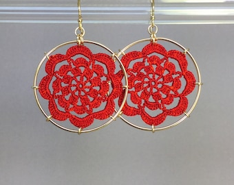 Serendipity doily earrings, red hand-dyed silk thread, 14K gold-filled