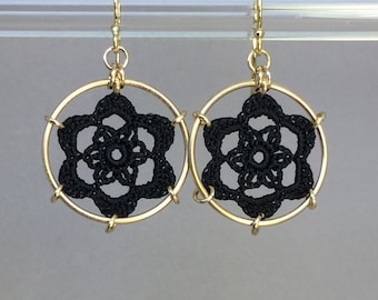 Peony doily earrings, black silk thread, 14K gold-filled