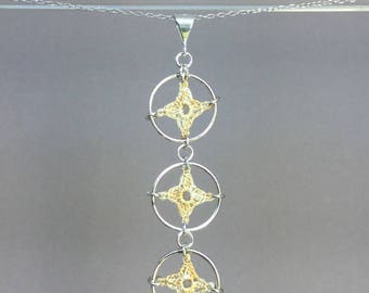Spangles, French vanilla silk necklace, sterling silver