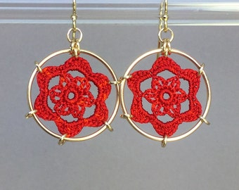 Peony doily earrings, red hand-dyed silk thread, 14K gold-filled