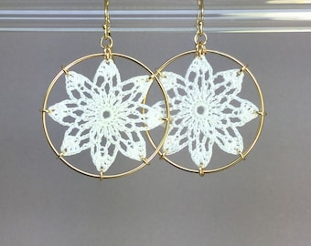 Tavita doily earrings, white silk thread, 14K gold-filled