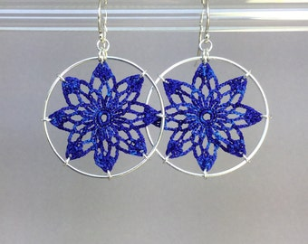 Tavita doily earrings, blue hand-dyed silk thread, sterling silver
