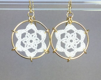 Peony doily earrings, white silk thread, 14K gold-filled