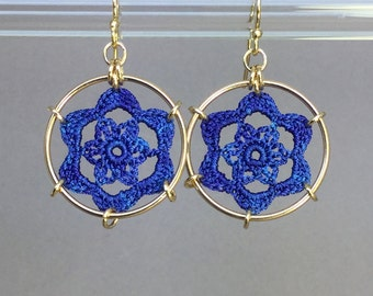 Peony doily earrings, blue hand-dyed silk thread, 14K gold-filled