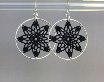 Tavita doily earrings, black silk thread, sterling silver