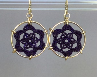 Peony doily earrings, purple hand-dyed silk thread, 14K gold-filled