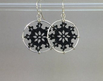 Nautical doily earrings, black silk thread, sterling silver