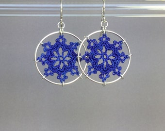 Nautical doily earrings, blue hand-dyed silk thread, sterling silver